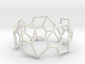Catalan Bracelet - Pentagonal Hexecontahedron in White Natural Versatile Plastic: Small