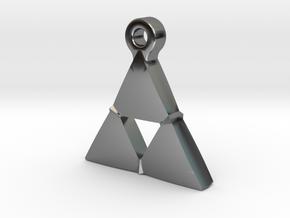 Delta Triangle Pendant in Fine Detail Polished Silver