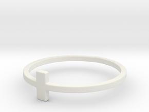 Plus Cross Sign Ring in White Natural Versatile Plastic: 6 / 51.5
