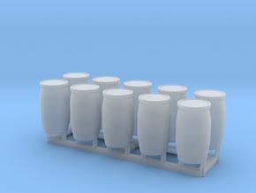 HO 10 Blue Barrels in Smooth Fine Detail Plastic