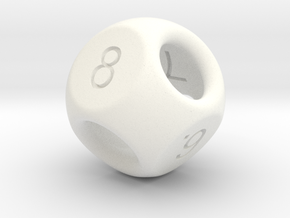 Hidden Odd Numbers D8 Dice in White Processed Versatile Plastic