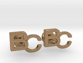 Monogram Cufflinks BC in Natural Brass