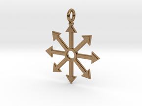 Chaos star pendant in Natural Brass