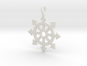 Chaos star wheel pendant in White Natural Versatile Plastic