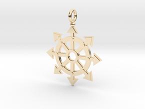 Chaos star wheel pendant in 14K Yellow Gold
