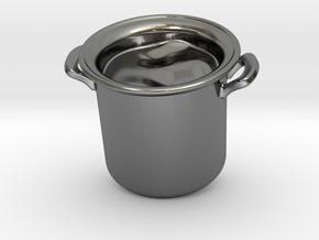 Big Pot Pendant in Fine Detail Polished Silver