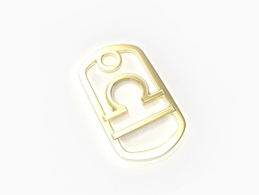 Libra Zodiac Sign Dog Tag Pendant in 18k Gold Plated Brass