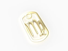 Virgo Zodiac Sign Dog Tag Pendant in 18k Gold Plated Brass