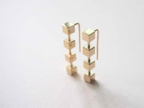 Boxed Earrings in Natural Brass