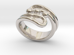 Threebubblesring 17 - Italian Size 17 in Rhodium Plated Brass