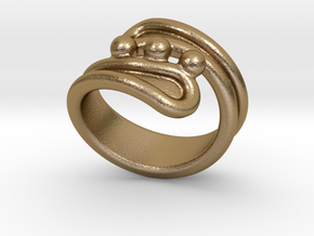 Threebubblesring 17 - Italian Size 17 in Polished Gold Steel