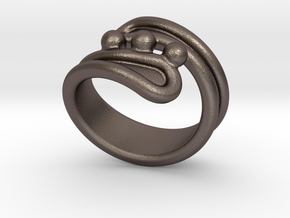 Threebubblesring 18 - Italian Size 18 in Polished Bronzed Silver Steel