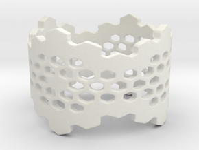 Honeycomb Band Edge Ring in White Natural Versatile Plastic: 6 / 51.5