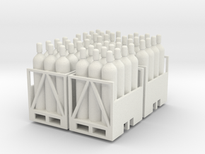 Acetylene Tanks On Pallet 4 Pack 1-87 HO Scale in White Natural Versatile Plastic