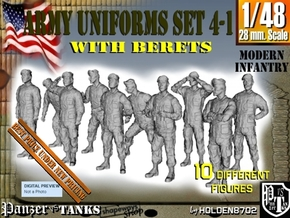 1-48 Army Modern Uniforms BERETS Set 4-1 in Smooth Fine Detail Plastic