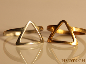Dark Side Triangle Ring in Natural Brass