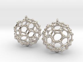 BuckyBall C60 Earring, Silver, 1.7cm. 2 Pieces. in Rhodium Plated Brass