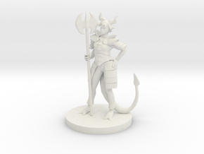 Tiefling Female Death Cleric in White Strong & Flexible