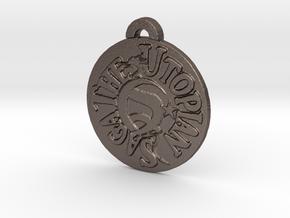 Utopian Saga Pendant  in Polished Bronzed Silver Steel: Large