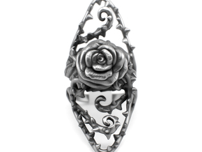 Dangerous - Silver Rose Ring in Polished Silver: 7 / 54