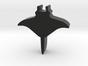 Game Piece, Manta Ray in Black Natural Versatile Plastic