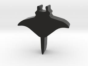 Game Piece, Manta Ray in Black Natural Versatile Plastic