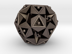 DICE Icosidodecahedron STAR in Polished Bronzed Silver Steel