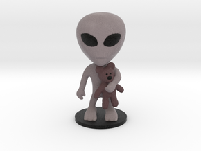 Little Alien with a Teddy Bear in Full Color Sandstone