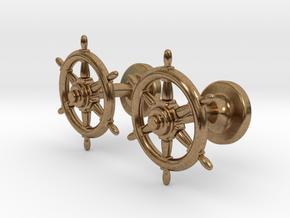 Ships Wheel cufflinks in Natural Brass