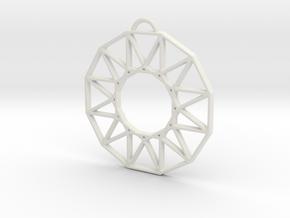 Stylized Sun Modern Pendant Charm in White Natural Versatile Plastic