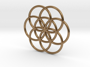 Flower of Life Seed Pendant Small in Natural Brass