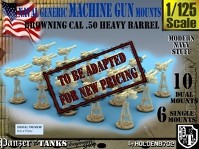 1-125 Cal 50 Modern Naval Mount Set1 in Smooth Fine Detail Plastic