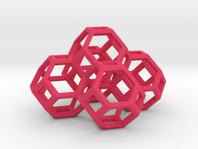 Truncated Octahedron Desk Organiser in Pink Processed Versatile Plastic