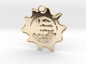 McScath Family Crest in 14k Gold Plated Brass: Large