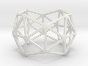 Catalan Bracelet - Pentakis Dodecahedron in White Natural Versatile Plastic: Large