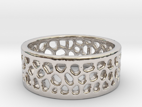 Cell Ring - Size 6 in Rhodium Plated Brass