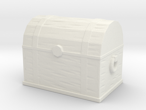 Banded Wooden Chest in White Natural Versatile Plastic