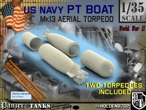 1-35 Torpedo Mk13 For PT Boat Set1 in White Processed Versatile Plastic