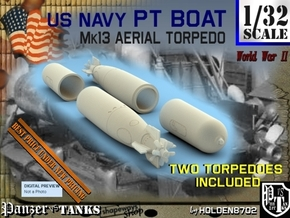 1-32 Torpedo Mk13 For PT Boat Set1 in White Processed Versatile Plastic