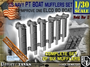 1-30 PT Boat Mufflers Set in Smooth Fine Detail Plastic
