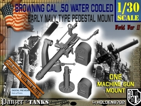 1-30 USN Cal 50 M2 WC Swan Neck Mount in Smooth Fine Detail Plastic