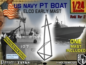 1-24 Elco PT Boat Early Mast in Smooth Fine Detail Plastic