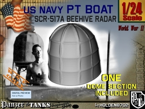 1-24 PT Boat Beehive Radar Dome in White Processed Versatile Plastic