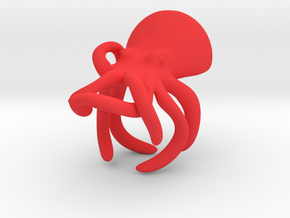Octopus Ring in Red Processed Versatile Plastic: Small