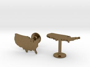 USA Cufflinks in Natural Bronze