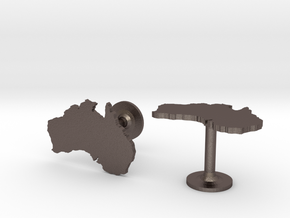 Australia Cufflinks in Polished Bronzed Silver Steel