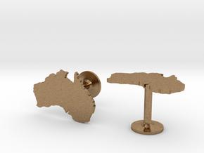 Australia Cufflinks in Natural Brass