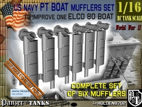 1-16 PT Boat Mufflers Set in Smooth Fine Detail Plastic