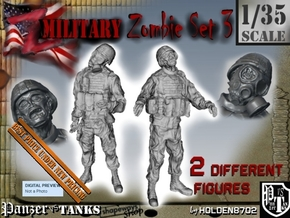 1-35 Military Zombie Set 3 in Smooth Fine Detail Plastic