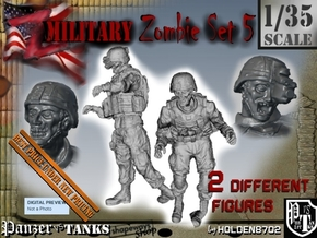 1-35 Military Zombie Set 5 in Smooth Fine Detail Plastic